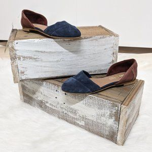 TOMS Blue and Brown D'Orsay Flats